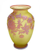 Thomas Webb And Sons Glass 3 Tone Cameo Vase White On Red On Yellow Signed