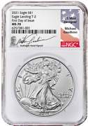 Pre-order 2021-w Type 2 Silver Eagle Ngc Ms70 First Day Of Issue Signed