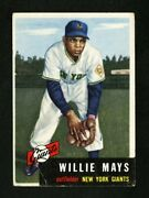 1953 Topps 244 Willie Mays Original One Owner Card Corner Crease Vg+ Condition