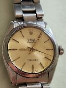 Vintage Rolex Oyster Precision Manual Wind Yellow Dial Heavy Oyster Band Watch