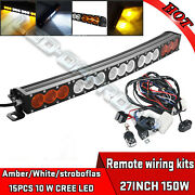 27inch 150w Cree Led Light Bar Amber White Offroad Driving Lamps 4x4wd Truck Suv