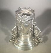 C.19th Century European Sterling Silver Open Work Candle Stick Holder And Putties