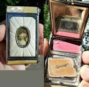 1920 Chatelaine Camera Art Deco Cameo Pearlized Celluloid Makeup Compact Girey