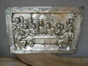 Rare Version Of The Vintage Large Last Supper Metal Relief Silver Plated Art