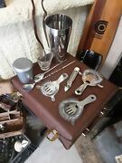 Vintage Portable Travel Bar - Bar Caddy - Leather Case With Handle Plus Book