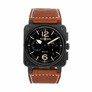 Bell And Ross Br-03 Heritage Chrono Auto Acier Noir Montre Hommes Br03-94-heritage