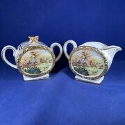 Vintage Antique 1930and039 Sadler Barrel And039and039at The Fox Hunt Creamer And Sugar Bowl