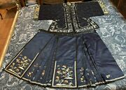 Antique Chinese Qing Dynasty Silk Hand Embroidered Robe+skirt Set