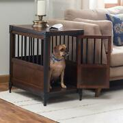 Medium Size Vintage Style Wooden Pet Dog Crate Cage End Table 18w X 27d X 28.25h
