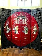 Antique Rare Chinese Floor Screen Room Divider Double Sided. 6'h X 6'w Beautiful