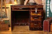 Antique Drafting Table Desk Industrial Brass Handles 5 Wood Drawers Architect