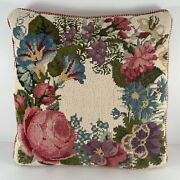 Vintage Floral Border Embroidery Needlepoint Throw Pillow 15 Checkered Back