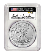 Pre-order 2021 Silver Eagle Type 2 Pcgs Ms70 First Strike - Emily Damstra Signed