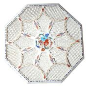 36 Marble Beautiful Dining Table Top Filigree Art Multi Floral Inlay Decor W287
