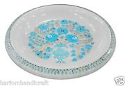 13 White Marble Fruit Bowl Rare Marquetry Mosaic Floral Inlay Table Decor H1441