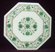 12 Marble Coffee Corner Table Top Malachite Inlay Best Gift For Valentine H2133