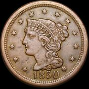 1850 Braided Hair Large Cent Penny ---- Type Coin ---- R360