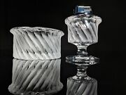 Lalique Smyrne Ashtray Match Holder And Table Lighter Trio