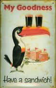 Guinness Toucan With Sandwich Tin Sign Shield 3d Embossed 7 7/8x11 13/16in