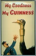 Guinness Big Birt Tin Sign Shield 3d Embossed Arched 7 7/8x11 13/16in