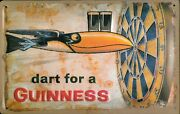 Guinness Dart Tin Sign Shield 3d Embossed Arched 7 7/8x11 13/16in