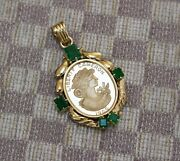 Credit Suisse 20g Fine Gold 1989 Cameron Coin Set In 18k Gold And Emerald Pendant