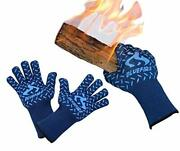 Bluefire Gloves Bbq Grill Firepit Oven Mitts Heat Resistant 932 Degrees F Lab...