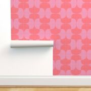 Removable Water-activated Wallpaper Coral Pink Lipstick Red Magenta Lavender