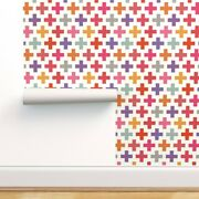 Removable Water-activated Wallpaper Colorful Plus Signs Geometric Medical
