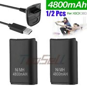 1/2pack Battery And Charger Cable For Microsoft Xbox 360 Wireless Controller Black