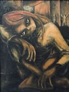 🔥 Antique Mid Century Modern Gothic Impressionist Oil Painting Keane - Signed