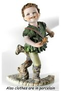 Statue Porcelain Figurine By Peter Pan With Flute Made By Hand In Italy