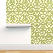 Wallpaper Roll Woodland Olive Green White Damask Fox Squirrel 24in X 27ft