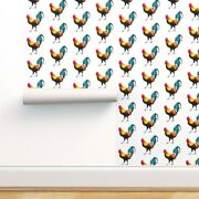 Wallpaper Roll Farm Animals Roosters Blue Red Yellow White Land 24in X 27ft