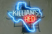 New Killian's Red Texas Real Glass Man Cave Neon Sign 24x20 Beer Lamp Light