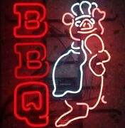 New Bbq Open Pig Barbecue Food Neon Light Sign 24x20 Lamp Poster Real Glass