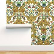Wallpaper Roll Damask Gold Green Coral Parrot Bird Rococo Bright 24in X 27ft