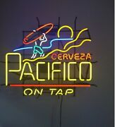 Pacifico Cerveza On Tap Neon Light Sign 24x20 Beer Bar Decor Lamp Glass