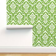 Wallpaper Roll Ikat Damask Green Holiday Christmas Home Dec 24in X 27ft