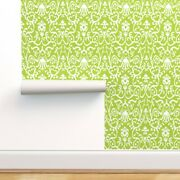 Wallpaper Roll Ikat Damask Floral Green Sprout 24in X 27ft