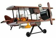 Whiskey Decanter Airplane Set And Glasses Antique Wood Airplane Large 21