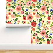 Wallpaper Roll Floral Flowers Boho Bright Colors Nursery Roses Mod 24in X 27ft