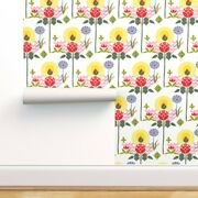 Wallpaper Roll Floral Scandinavian Swedish Botanical Bright Colors 24in X 27ft