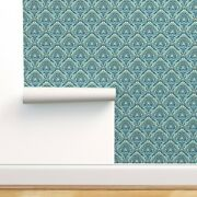 Wallpaper Roll Paisley Damask Blue And Green Paisley 24in X 27ft