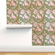 Wallpaper Roll Spring Air Damask Pink Green Floral Happy Bunny 24in X 27ft