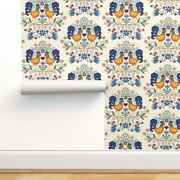 Wallpaper Roll Rooster Damask Multicolor Green Blue Yellow Country 24in X 27ft