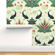 Wallpaper Roll Black Koi Damask Green Teal Red Turquoise Japanese 24in X 27ft