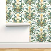 Wallpaper Roll Happy Dinosaurs Damask Green Nature Science 24in X 27ft