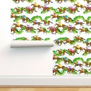 Peel-and-stick Removable Wallpaper Horses Off To The Races Derby Equestrian