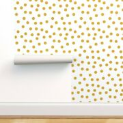 Peel-and-stick Removable Wallpaper Mustard Gold Polka Dots Baby Nursery Gender